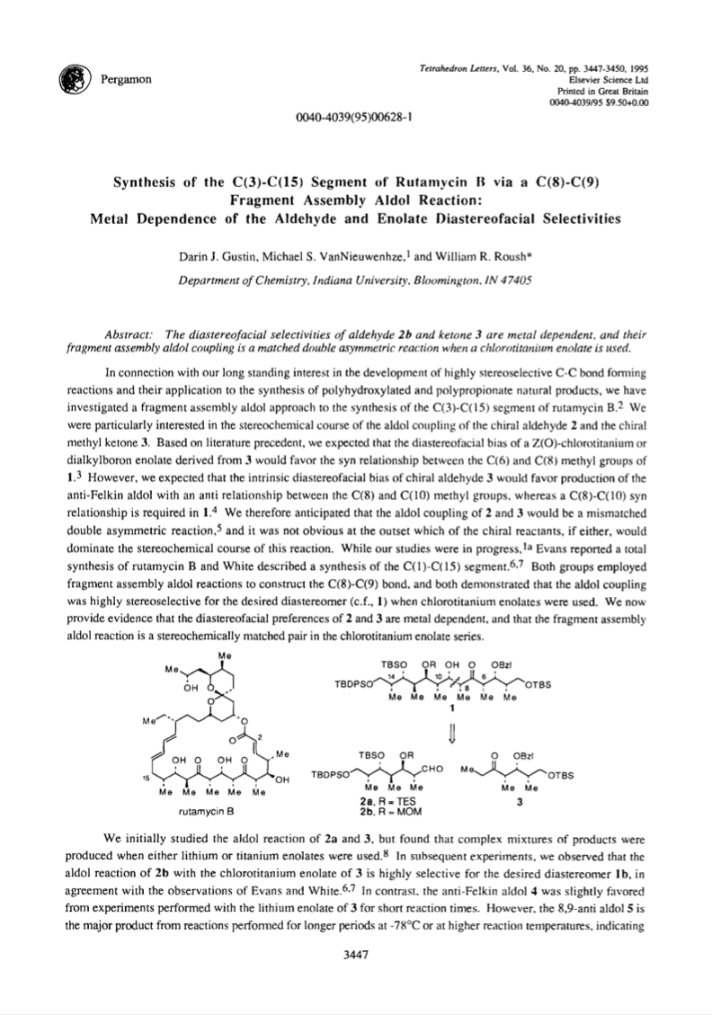 Synthesis of the C (3)-C (15) Segment of Rutamycin B via a C (8)-C (9) Fragment Assembly Aldol Reaction:  Metal Dependence of the Aldehyde and Enolate Diastereofacial Selectivities