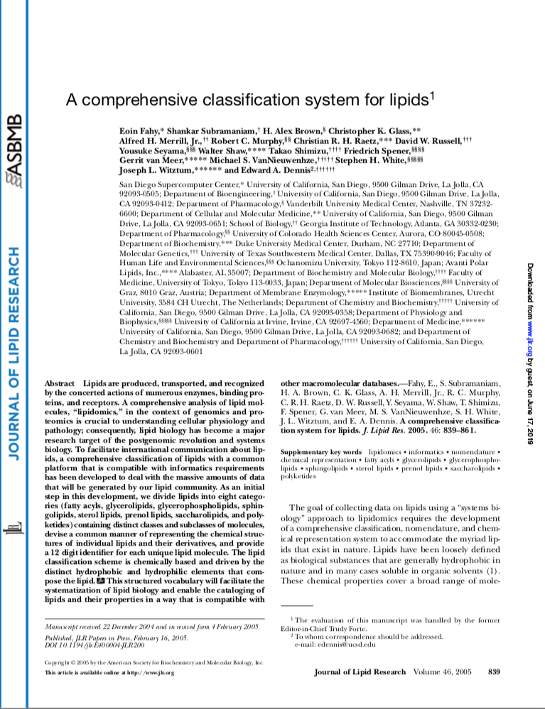 A Comprehensive Classification System for Lipids