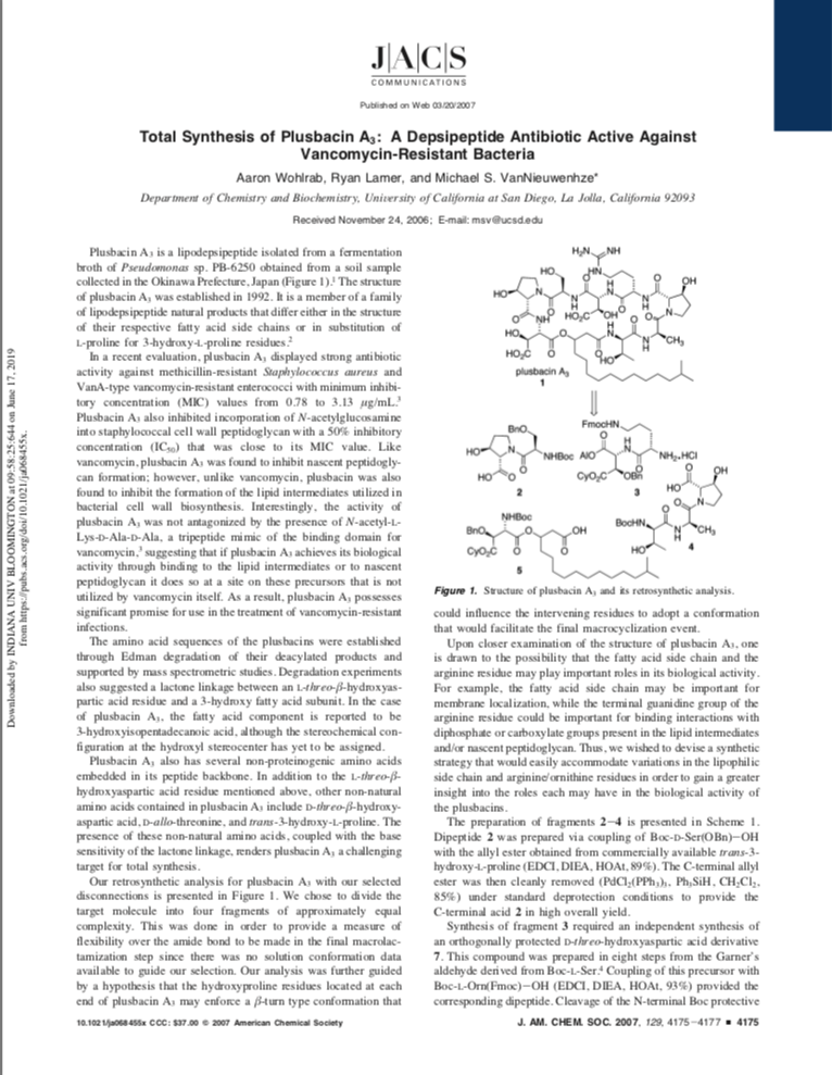 Total Synthesis of Plusbacin A3: A Depsipeptide Antibiotic Active Against Vancomycin-Resistant Bacteria