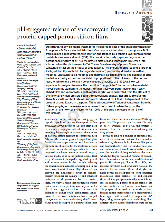 pH-Triggered Release of Vancomycin from Protein-Capped Porous Films