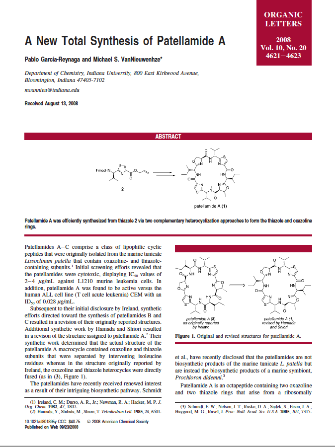 A New Total Synthesis of Patellamide A