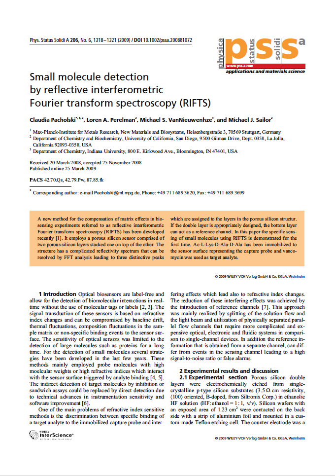 Small Molecule Detection by Reflective Interferometric Fourier Transform Spectroscopy (RIFTS)