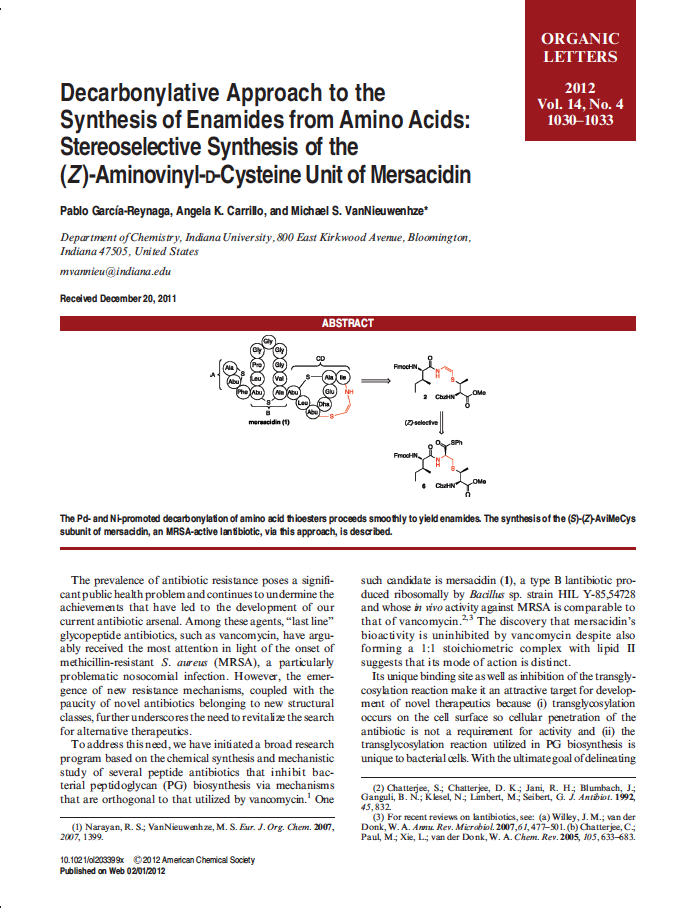 Decarbonylative Approach to the Synthesis of Enamides from Amino Acids:  Stereoselective Synthesis of the (S)-(Z)-Aminovinyl–D-Cysteine Unit of Mersacidin