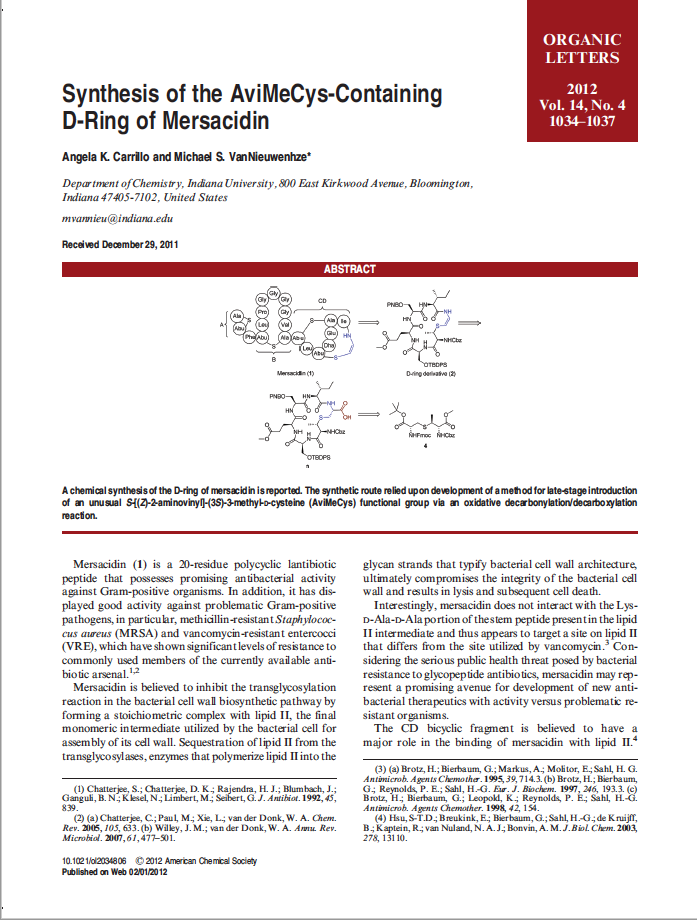 Synthesis of the AviMeCys-Containing D-Ring of Mersacidin
