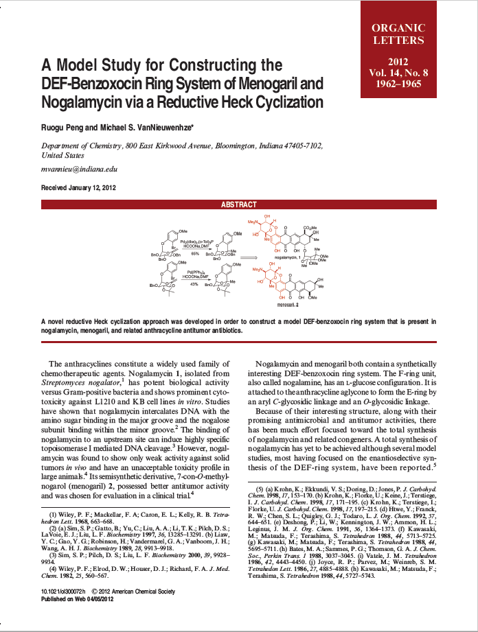 A Model Study for Construction of the DEF-Benzoxocin Ring System of Nogalamycin via Reductive Heck Cyclization
