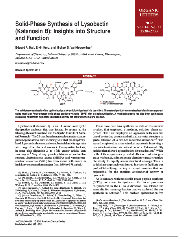 Solid-Phase Synthesis of Lysobactin (Katanosin B):  Insights into Structure and Function