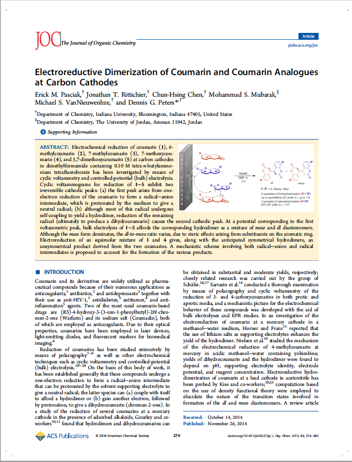 Electroreductive Dimerization of Coumarin and Coumarin Analogues at Carbon Cathodes