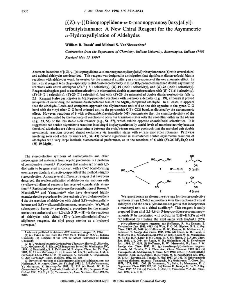 (Z)-γ-[(Diisopropyl-α-D-mannopyranosyl)oxy]allylstannane: A New Chiral Reagent for the Asymmetric α-Hydroxyallylation of Aldehydes