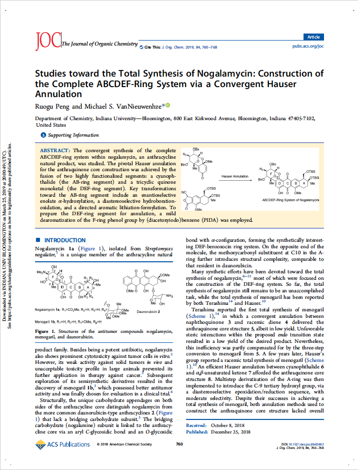 Studies toward the Total Synthesis of Nogalamycin: Construction of the Complete ABCDEF-ring System via a Convergent Hauser Annulation